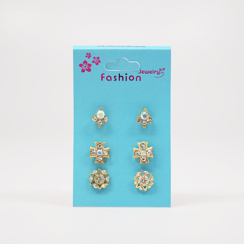 3-Pair Rhinestone Earring Set (#2516)
