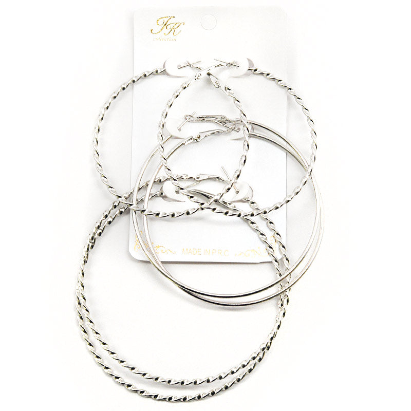 3-Pair Twisted Hoop Earring Set