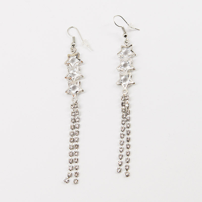 3 Stars and Rhinestone Strings Earrings (#2507)