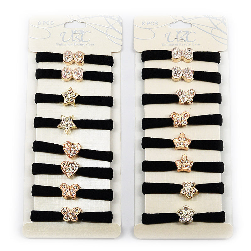 Cotton Hair Ties with Gold Charm (Black, 4 Pairs)