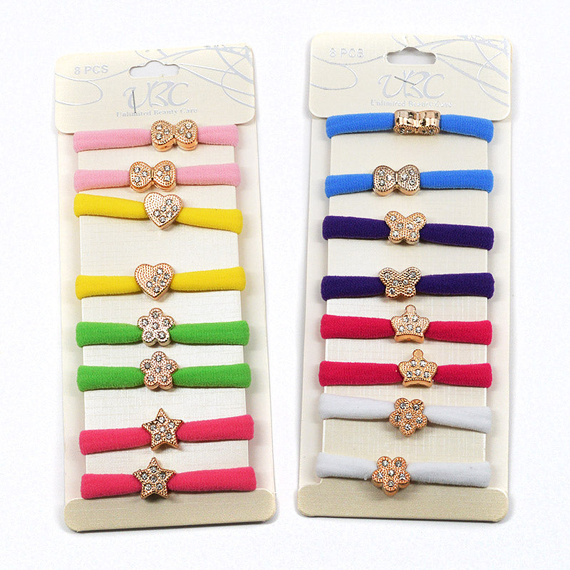 Cotton Hair Ties with Gold Charm (8 Pcs)