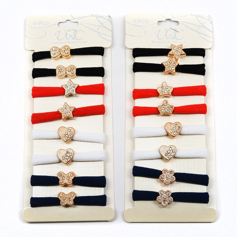 Cotton Hair Ties with Gold Charm (Red/Black, 4 Pairs)