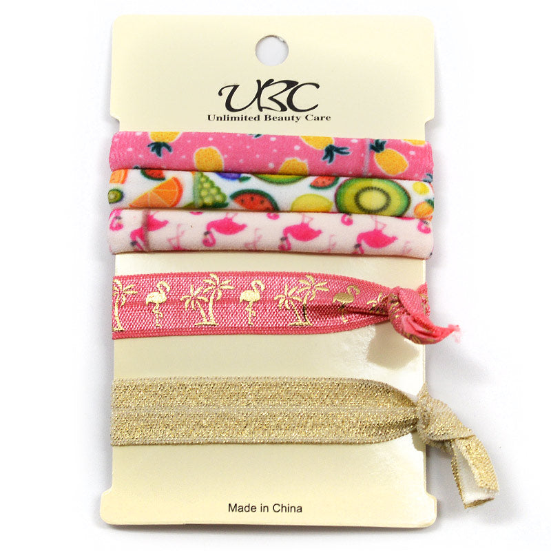 Elastic Ribbon Hair Ties - Fruit and Flamingos (5 Pcs)