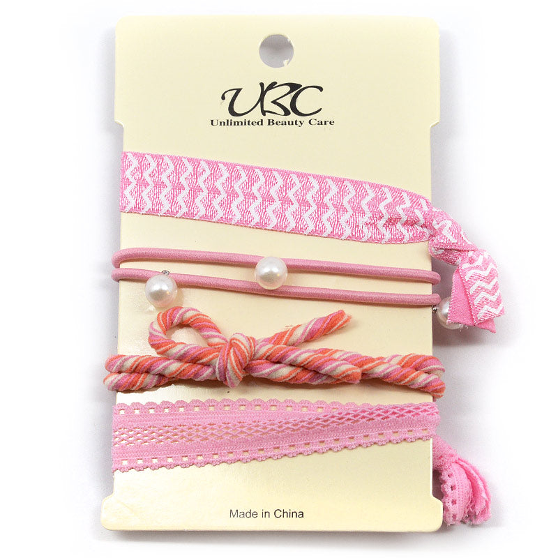 Elastic Ribbon Hair Ties - Pearls and Knots (4 Pcs)