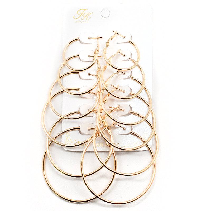6-Pair Hoop Earring Set