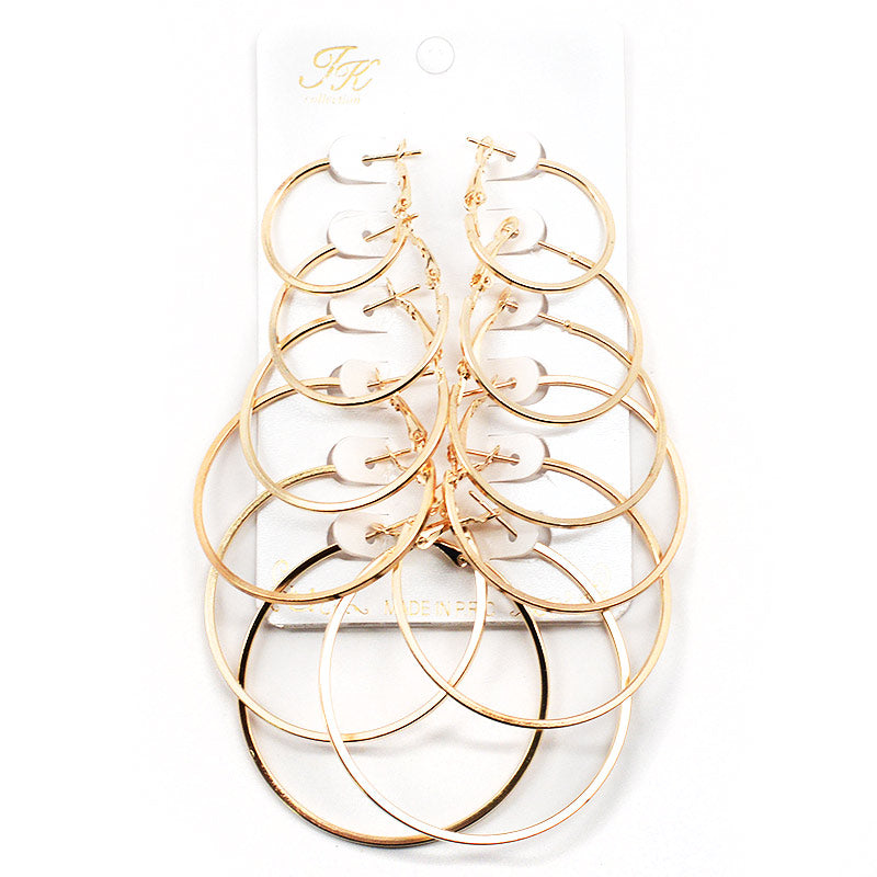 6-Pair Square Edge Hoop Earring Set