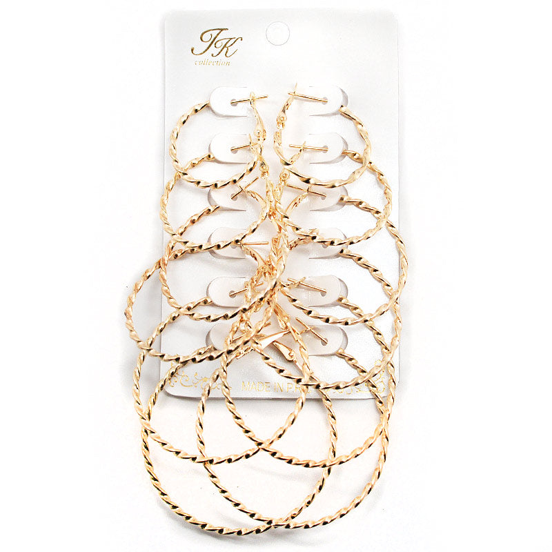 6-Pair Twisted Hoop Earring Set