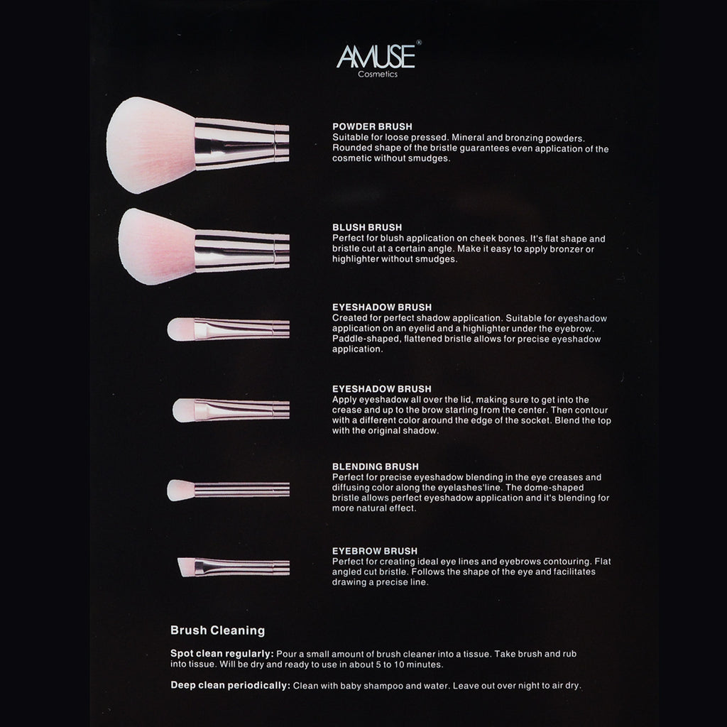 Amuse 6-Piece Professional Makeup Brush Set