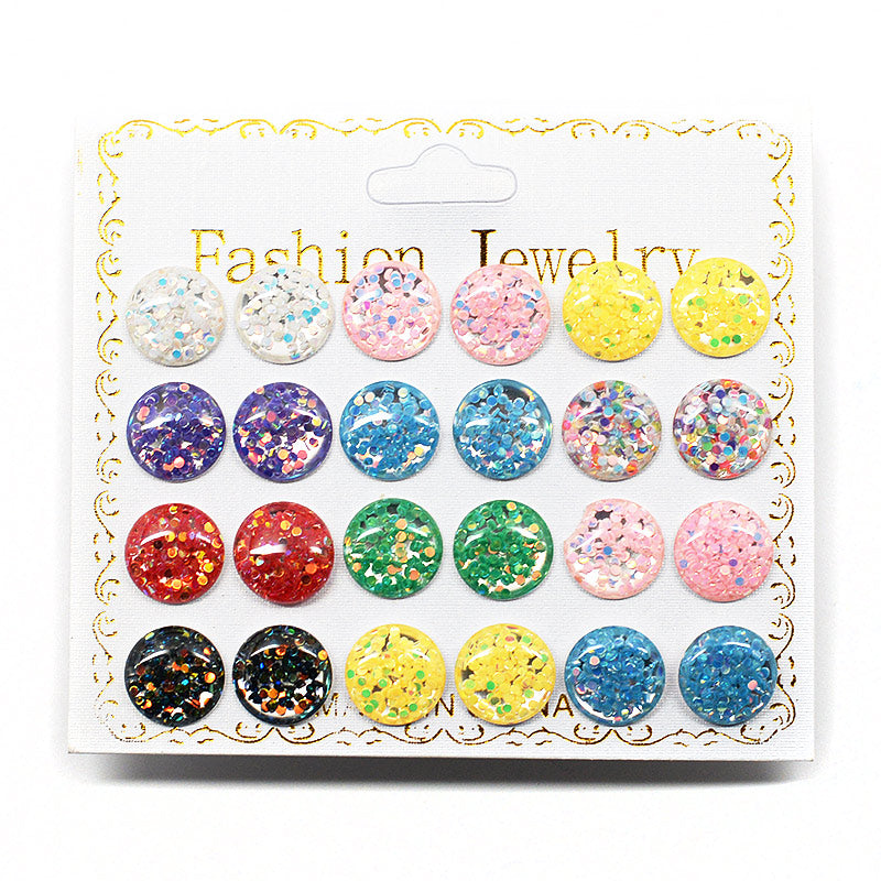 12-Pair Glitter Filled Stud Earrings (2574)
