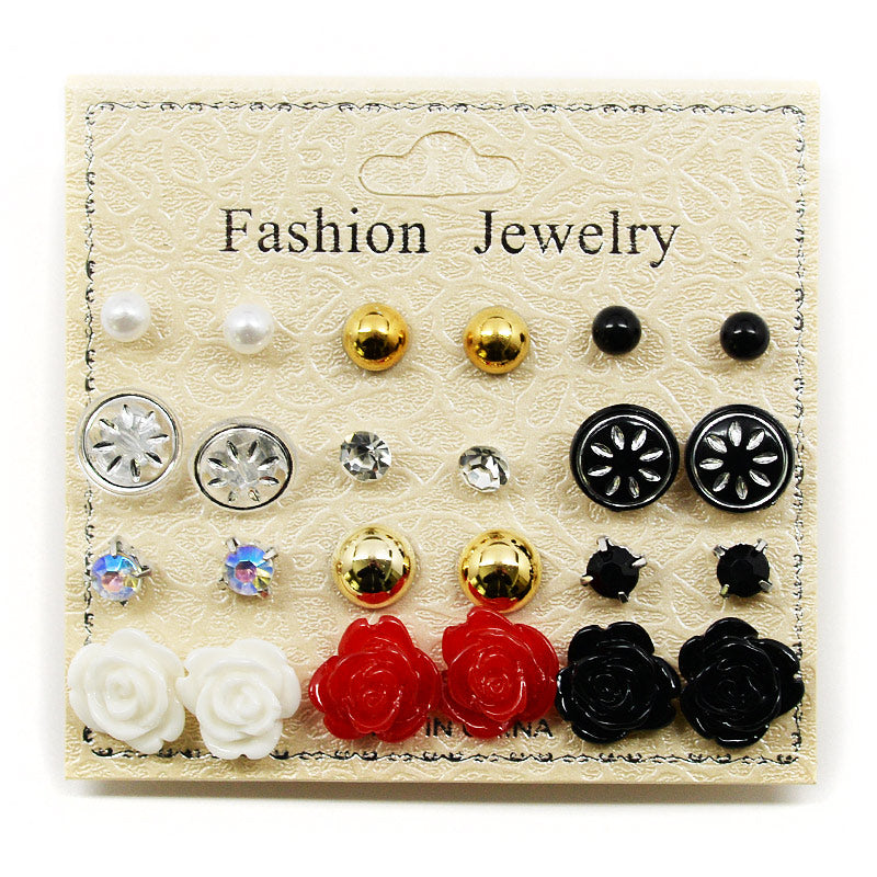 12-Pair Stud Earring Set With Roses (2569)