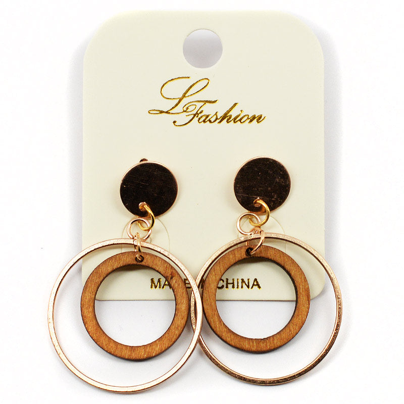 Dangling Circle-Shaped Wood And Metal Earrings