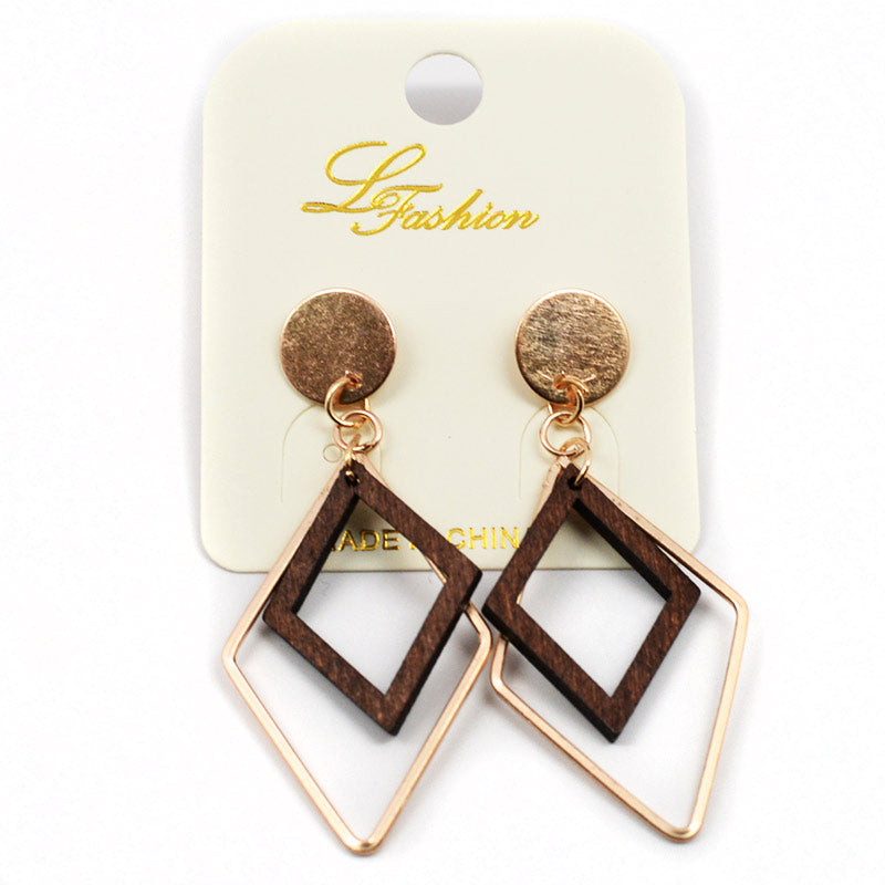 Dangling Diamond Shaped Wood And Metal Earrings