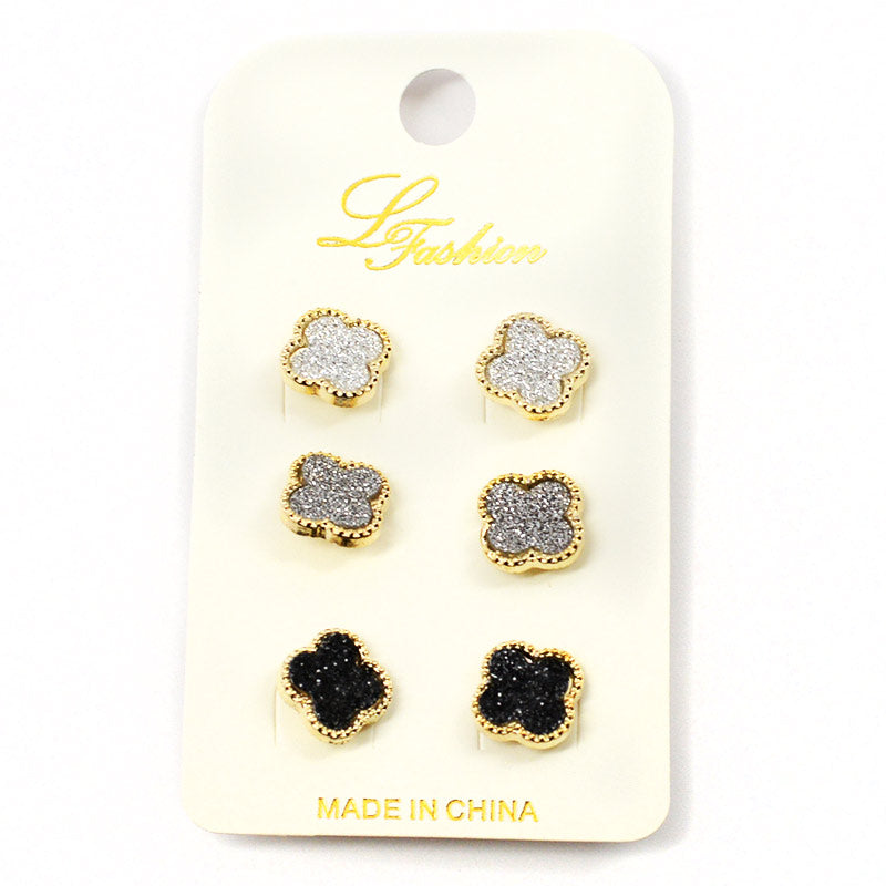 3-Pair Four Leaf Clover Earring Set (2511)