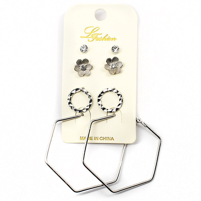 4-Pair Earring Assortment With Hexagon Shaped Hoops (2524)