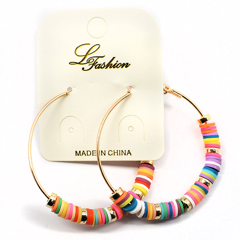Hoop Earrings Colorful Vinyl Beads (2537)