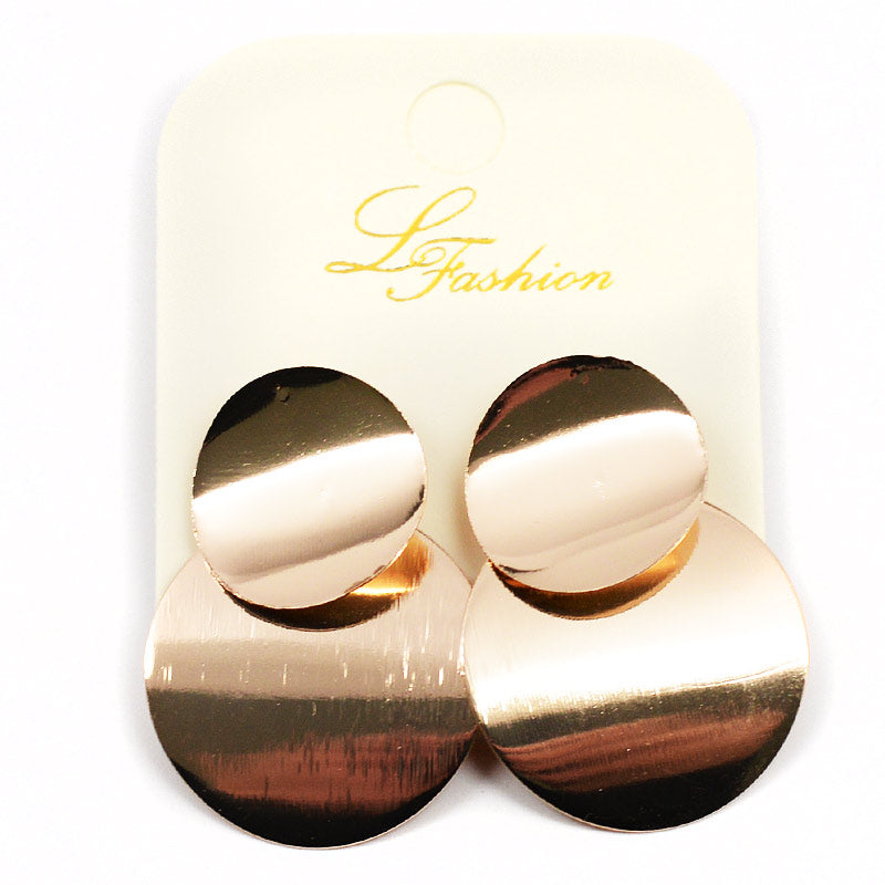 Earrings Shiny Metal Discs (2532)