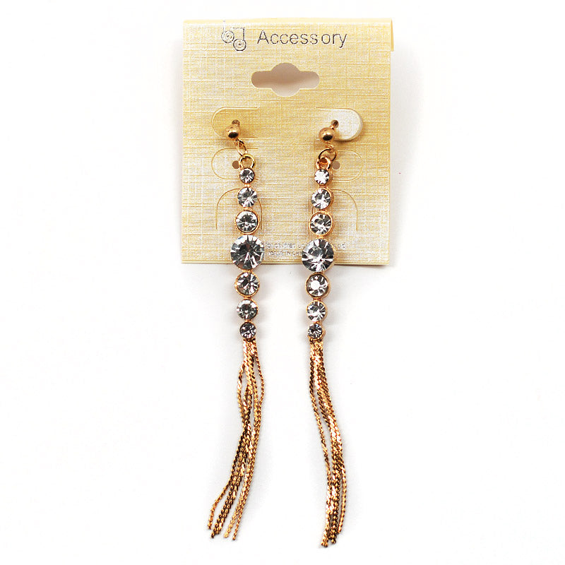 Dangling Rhinestone Earrings With Metallic Tassels (#2546)
