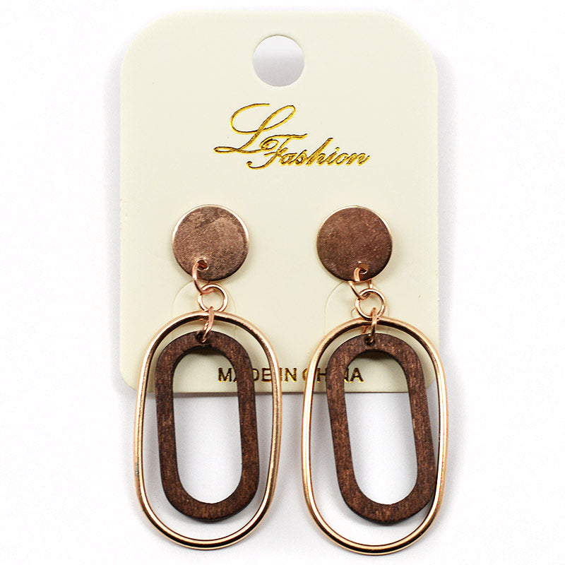 Dangling Oval-Shaped Wood And Metal Earrings