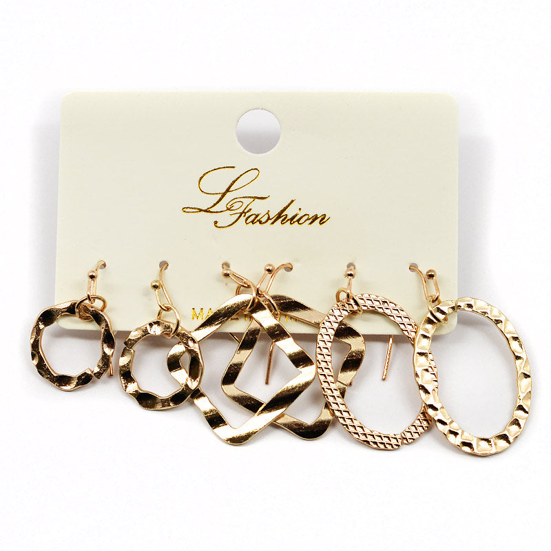 3-Pair Textured Metal Hoops (2578)