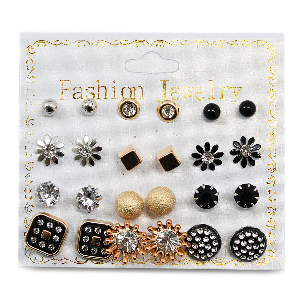 12-Pair Stud Earrings (2582)