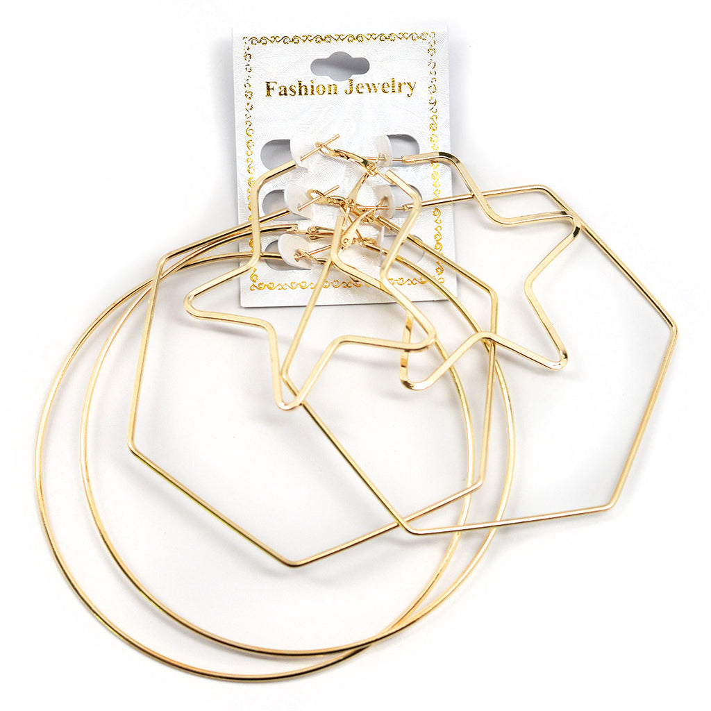 3-Pair Assorted Hoop Earrings - Gold Color (2586)