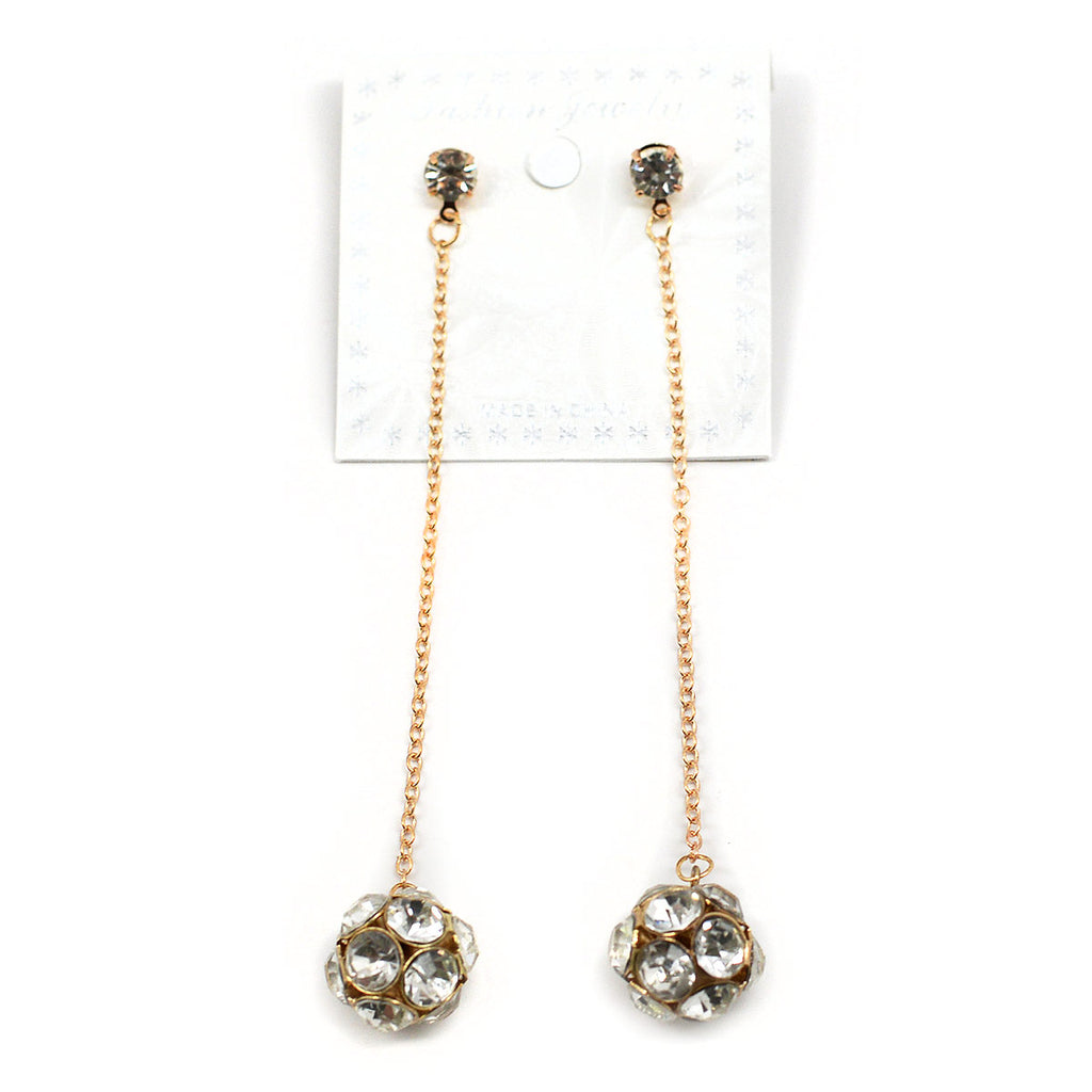 Dangling Rhinestone Ball Earrings (2587)