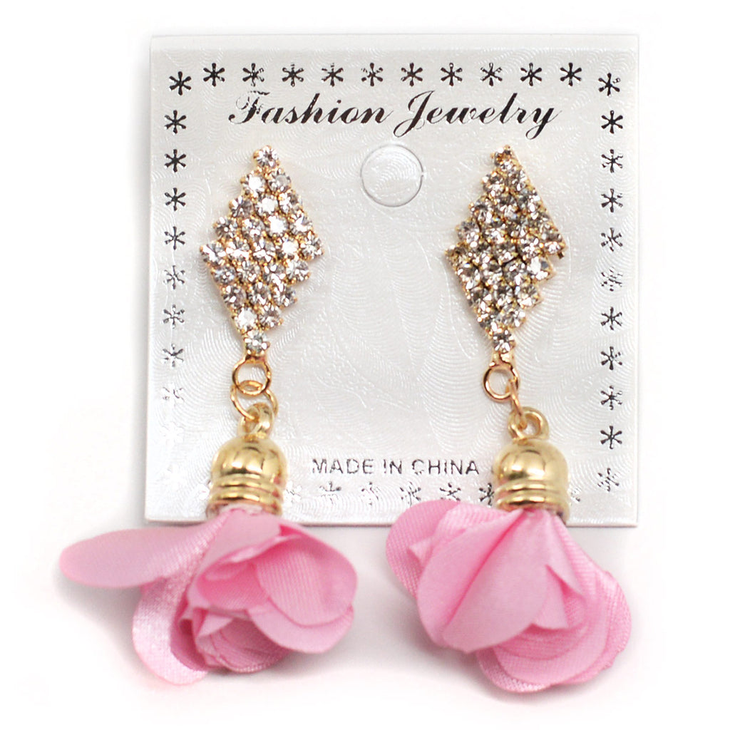Ribbon Flower Earrings (2591)