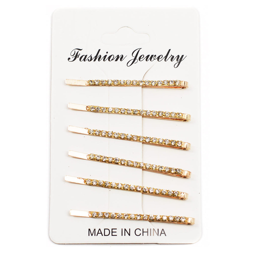 Set of 6 Rhinestone Bobby Pins - Gold Color (1044G)