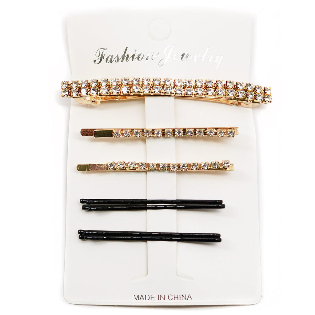 Rhinestone Hair Clip Set - Gold Color (1045G)