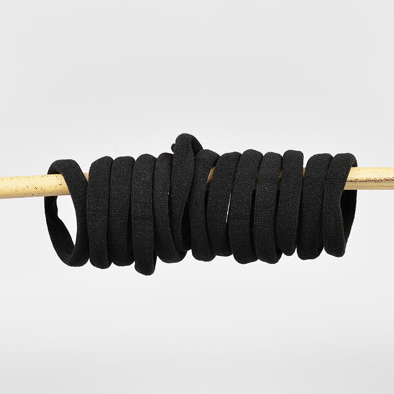 Soft Cotton Hair Ties - Small - Black (12 Pieces)