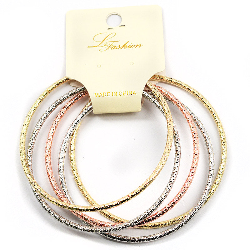 Textured Metal 5-Piece Bracelet Set (2551)