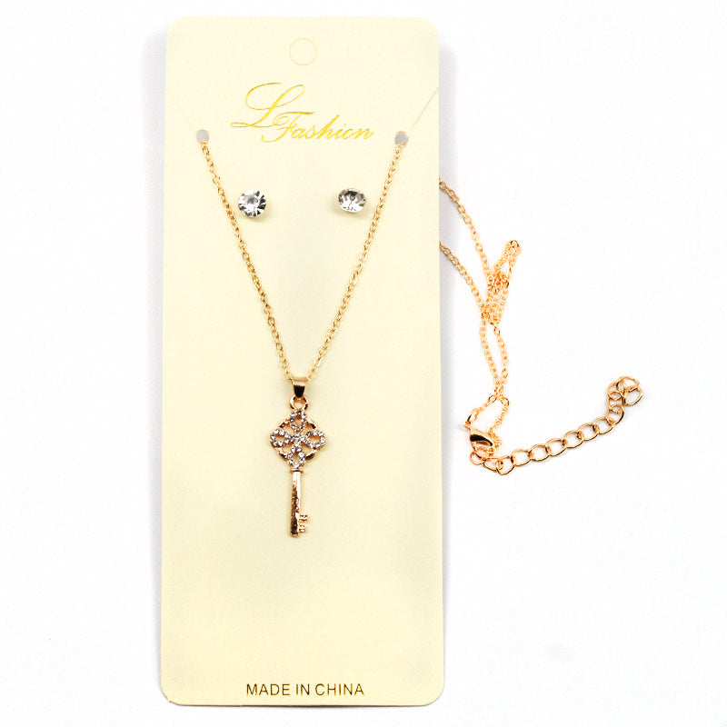 Rhinestone Key Charm Necklace Stud Earring Combo