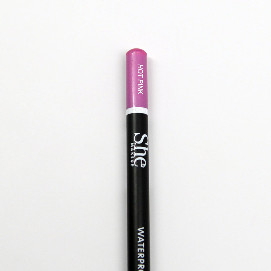 S.he Waterproof Eye and Lip Pencil with Sharpener - Hot Pink