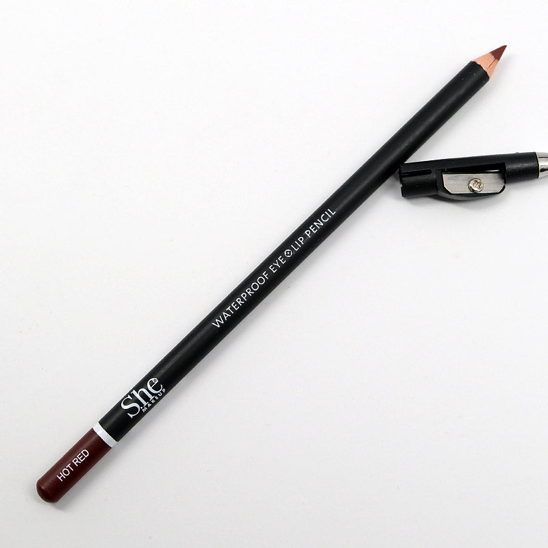 S.he Waterproof Eye and Lip Pencil with Sharpener - Hot Red