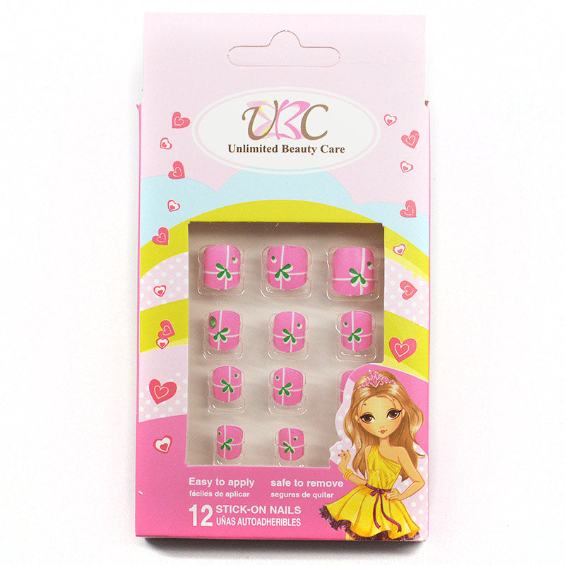 KIDS Stick-On Nails - Pink and Green