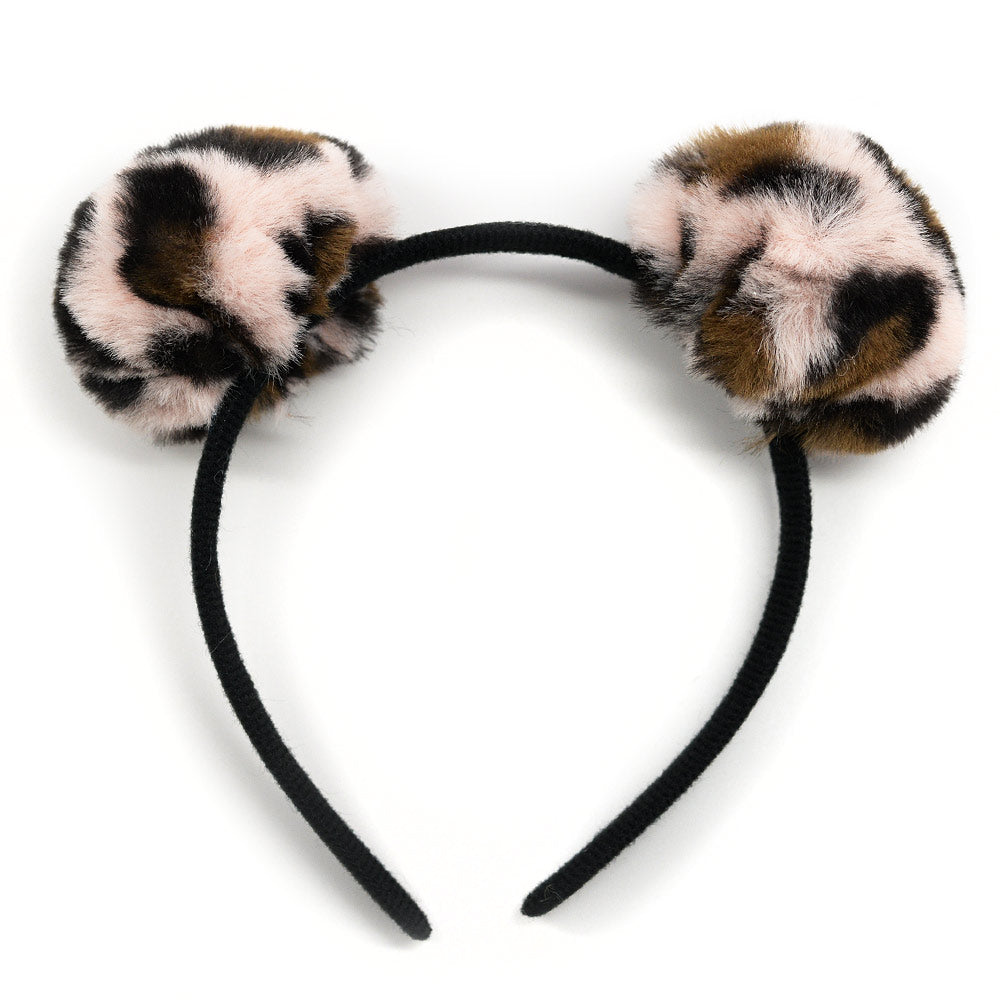 Animal Print Pom Pom Headband
