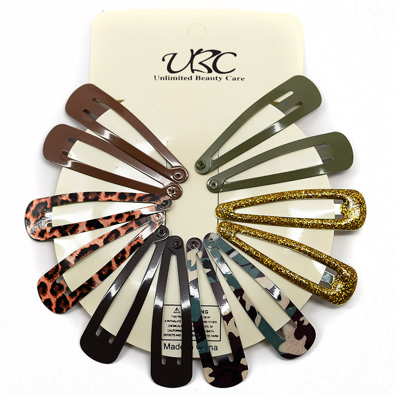 BB Hair Clip Sets - Green and Brown Assortment (12 Pcs)