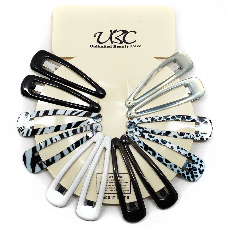 BB Hair Clip Sets - Black and White (12 Pcs)