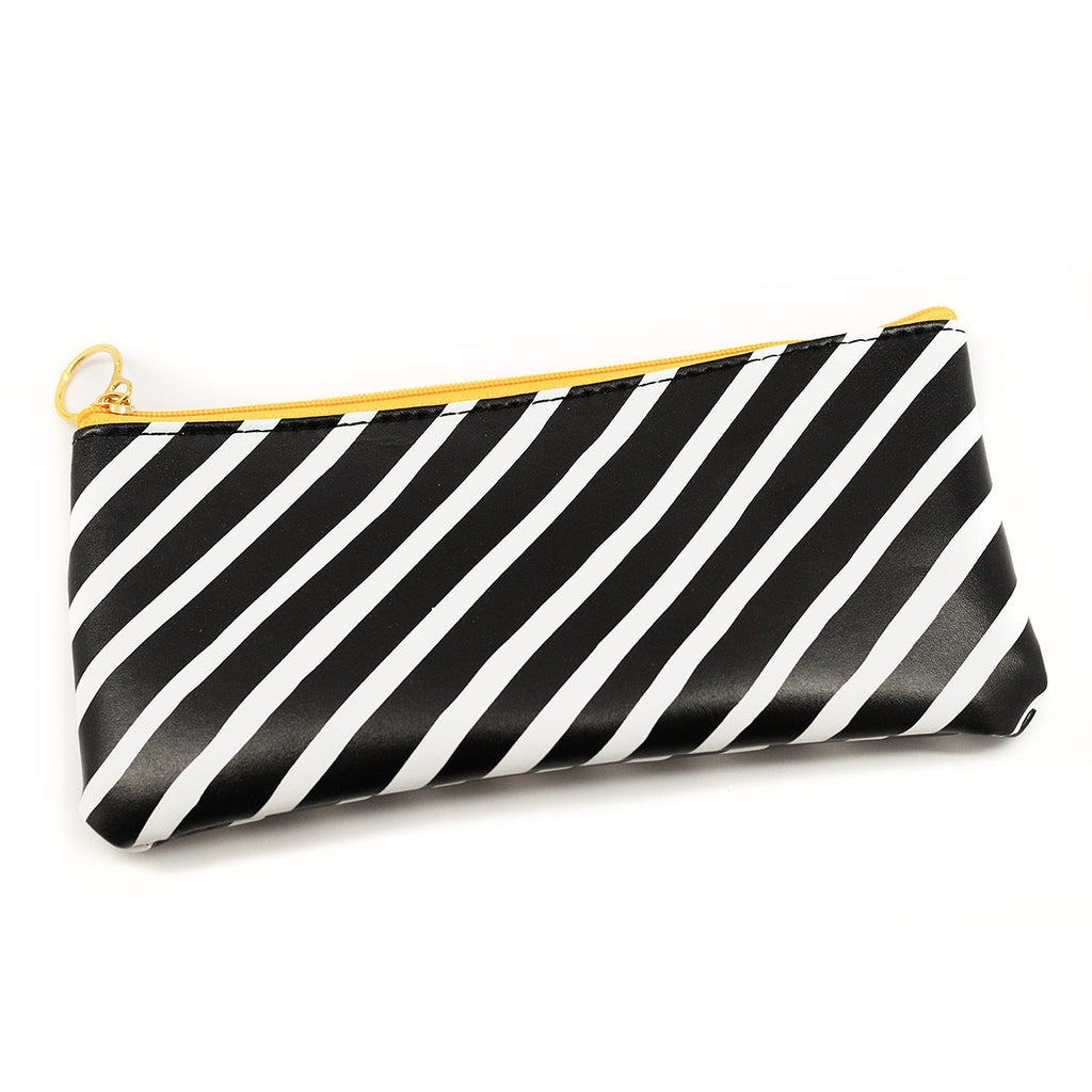 Black And White Striped Cosmetic Bag Pouch