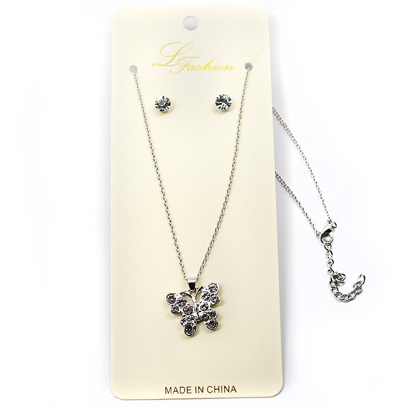Rhinestone Butterfly Necklace Earring Combo