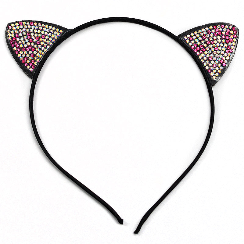 Color Rhinestone Cat Ears Headband