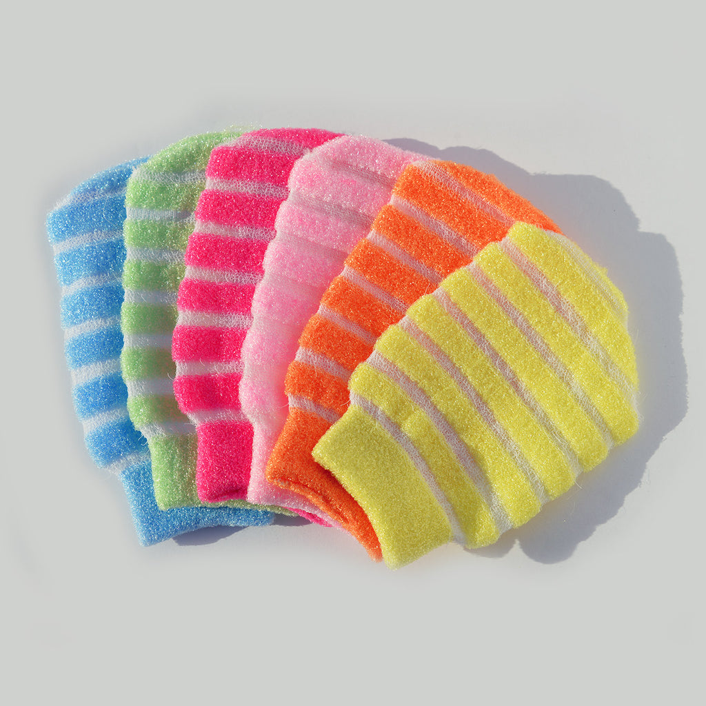 Striped Body Scrub Mitten