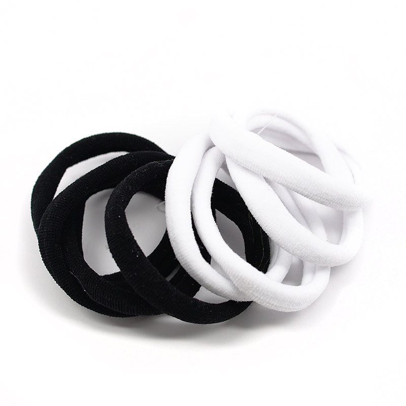 Cotton Hair Ties - Black and White (8 Pcs)