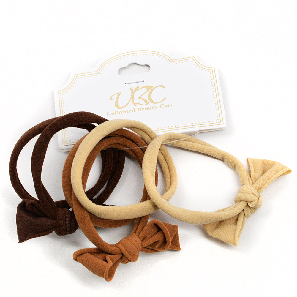 Cotton Hair Ties with Bows - Browns (6 Pcs)