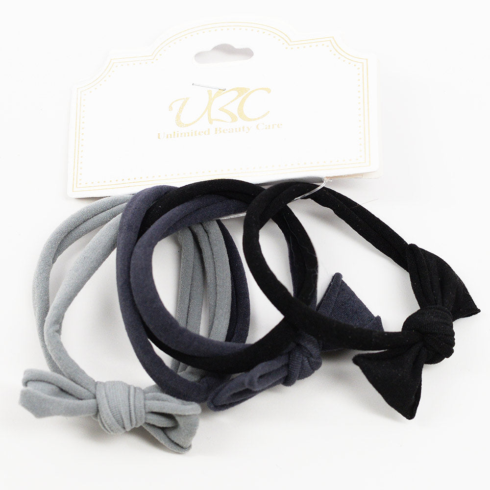 Cotton Hair Ties with Bows - Grays (6 Pcs)