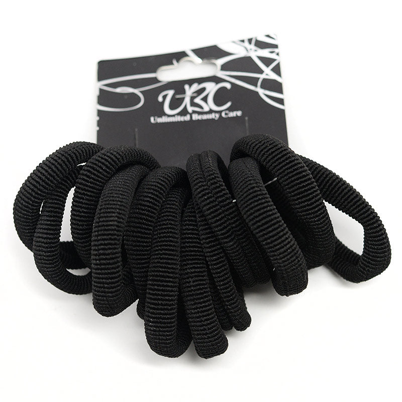 Ribbed Cotton Hair Ties - Black (12 Pcs)