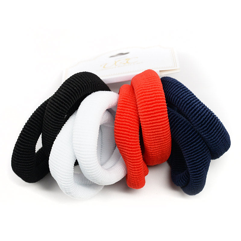 Ribbed Cotton Hair Ties - Black, White, Red, Blue (8 Pcs)
