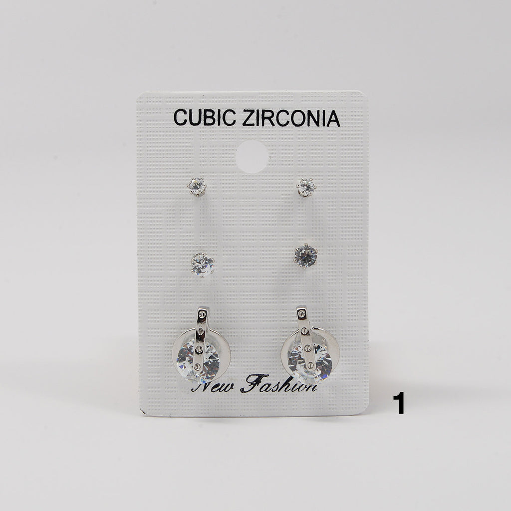 Cubic Zirconia 3-Pair Earring Set (#2505)