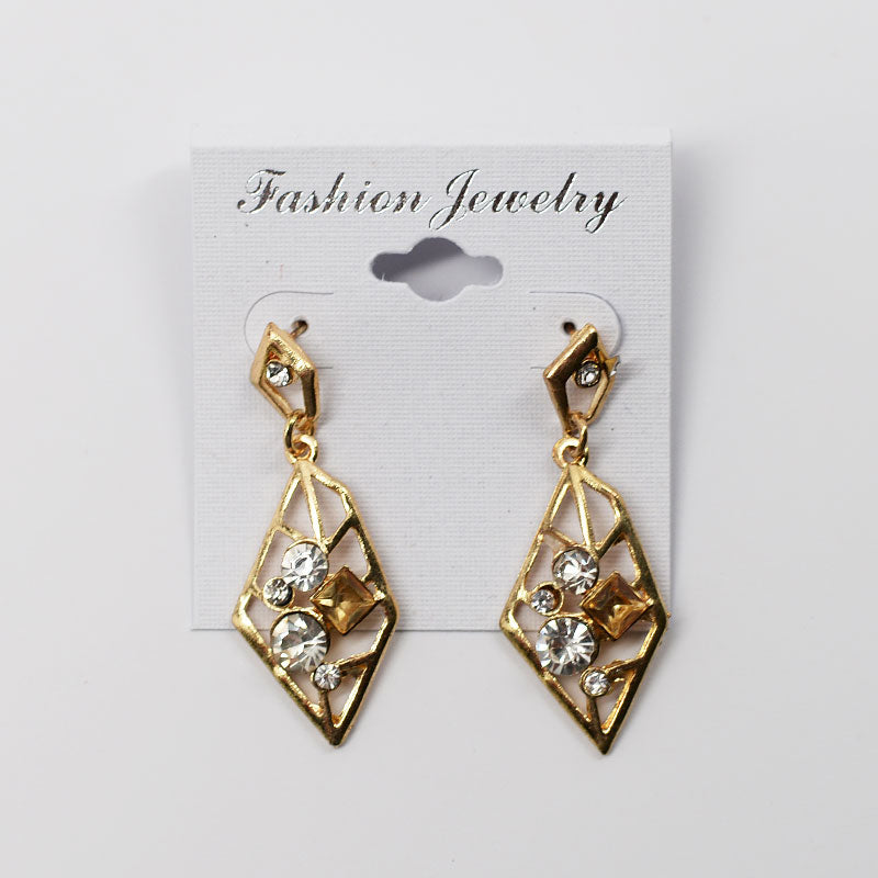 Leaf Shaped with Rhinestones Dangling Earrings (#2519)