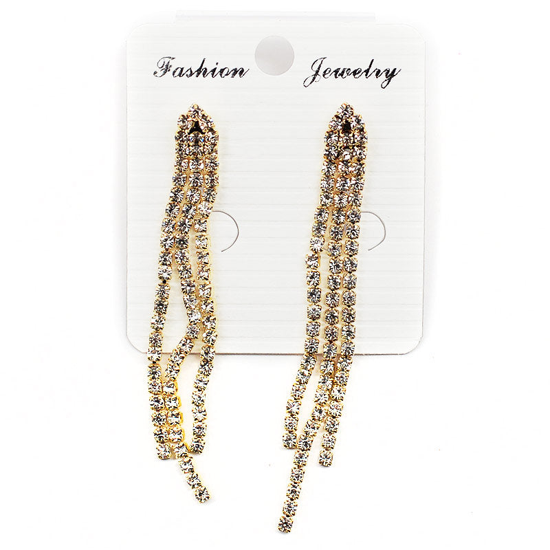 Rhinestone Tassel Earrings (#2553)